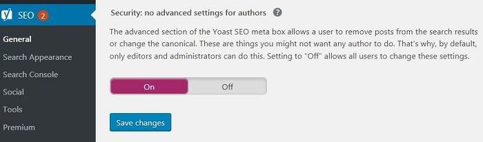 WordPress Advanced settings