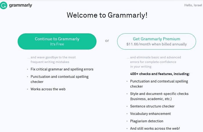 Grammarly Sign Up Details