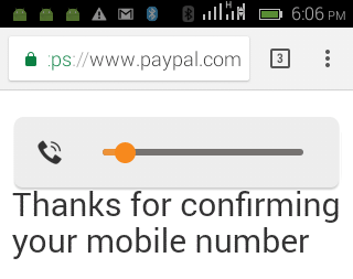 Phone Number Confirmation by PayPal