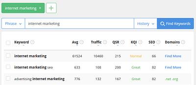 Internet marketing search
