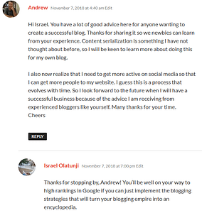 Comments and my reply